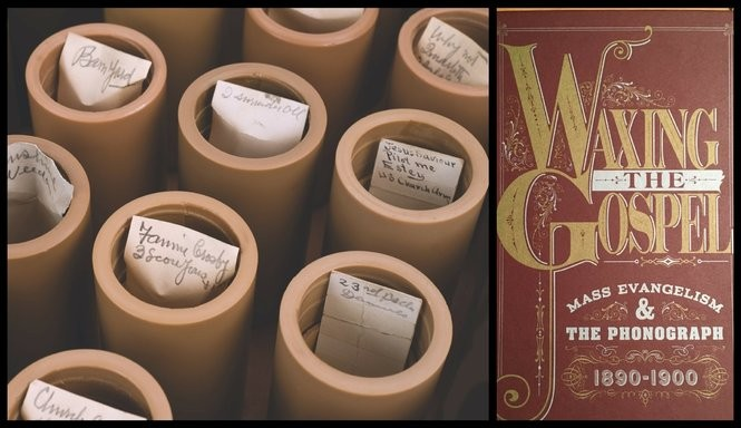 "Heath's trove of wax cylinder recordings purchased by Michael Devecka in 1993, left, and the cover of Grammy-nominated ""Waxing the Gospel."" (Michael Devecka collection and Bobby Olivier)"