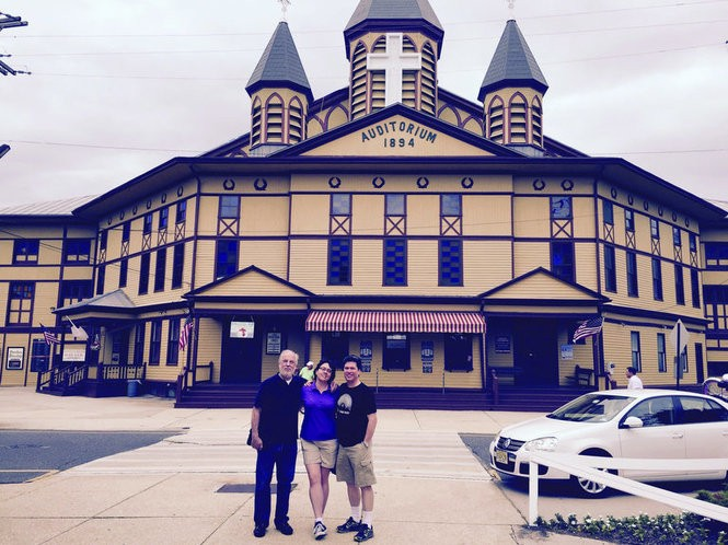 """Waxing the Gospel"" co-producers Michael Devecka, Meagan Hennessy and Richard Martin in front of the Great Auditorium in Ocean Grove. (Carolyn Devecka)"