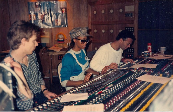 "Left to right: Sound engineer David Frazer, Whitney Houston and producer Narada Michael Walden at the soundboard working on ""Whitney."" (Courtesy of Tarpan Studios)"
