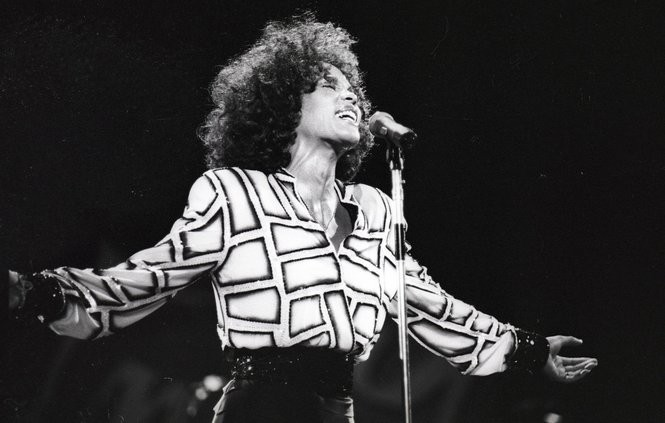 "Whitney Houston performs in concert at the Garden State Arts Center in Holmdel (now PNC) on Aug.19, 1987, as part of her Moment of Truth world tour, supporting the ""Whitney"" album. (Noah K. Murray/The Star-Ledger)"