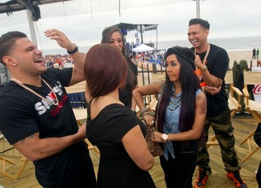 Polizzi, at right, with the cast of 'Jersey Shore' during an appearance in Seaside Heights for 'Today' in May. She and Farley met Gov. Christie there, though that didn't do much to repair their relationship with him.