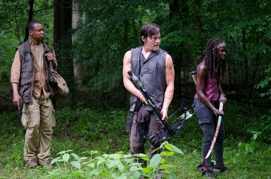 "Daryl, Michonne and Bob escape a herd of walkers while searching for meds on ""The Walking Dead"" this week."