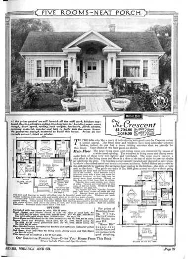 A page from the Sears and Roebuck catalog advertising a typical home they would have sold circa 1924.
