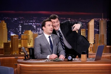 Stephen Colbert poses for a selfie with Fallon, his new peer in the 11:30 p.m. time slot.