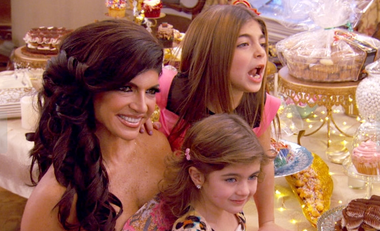 Teresa Giudice welcomes pals old and new to a tasting party for her new dessert line.