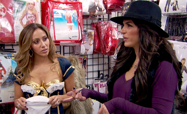 Teresa Giudice, right, gets the scoop on a feud that, for once, does not center around her.