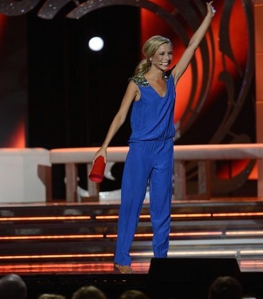 Miss America Kira Kazantsev, then Miss New York, brought a red plastic cup to tap on the pageant stage, her talent routine inspired by the movie 'Pitch Perfect'. She maintains she did not participate in physical or verbal abuse at her former sorority. (Ida Mae Astute/ABC)