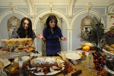 Kathy Wakile shows off her Thanksgiving dessert spread.