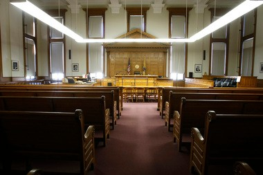 An empty courtroom inside the Essex County Courthouse.