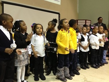 Preschool students at the Unified Vailsburg Services Organization in Newark perform songs as part of the annual Kids Count report released today. Newark Mayor Cory Booker and other leaders announced new city initiatives at the event.