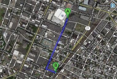 An 18-year-old man was killed by a car in Newark last night at East Kinney Street (marker B) after leaving a Devils game at the Prudential Center (marker A).