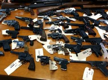 Some of the 200-plus handguns recovered by Newark police during a weekend gun buyback event.