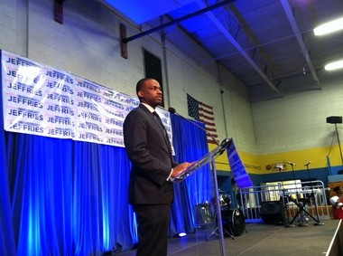 Shavar Jeffries announces his candidacy for mayor of Newark at the Boys and Girls Club of Newark Tuesday night.
