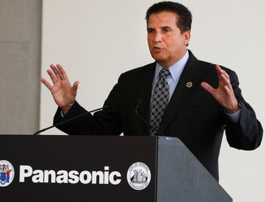 County executive Joseph DiVincenzo is pictured here at Tuesday's opening of the Panasonic U.S Headquarters in Newark.