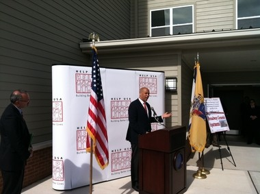 Newark Mayor Cory Booker gives a speech at a press conference today about Broadway Genesis Apartments, a complex offering homes to veterans for reduced rates.
