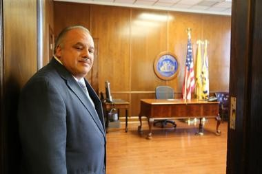 Luis Quintana enters the office of the mayor as Newark's chief executive for the first time after being sworn in to office today, replacing Cory Booker, who is now a U.S. Senator.