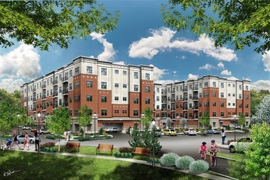 A rendering of Oaks Pond, a redevelopment project on a former factory site on Belleville Avenue.