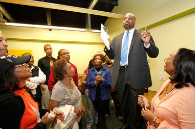 Hawkins, seen in a file photo taken election night on May 8, 2012, gives a concession speech to supporters after losing a bid for a second term to Dwayne Warren.