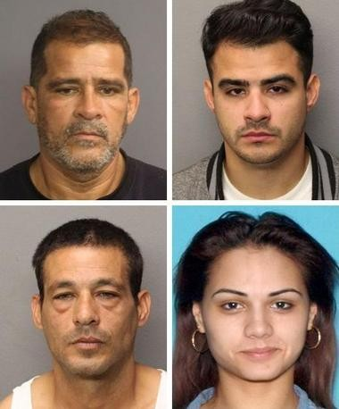 Four northern New Jersey persons, including a father and son, face an array of charges for prostituting a 15-year-old girl from Essex County. The indictment handed up by acting Prosecutor Carolyn Murray's office, used a comprehensive anti-trafficking law passed last year. Clockwise, from top left, Charles P. Torres, of North Bergen; his son, Charles B. Torres, of Ridgefield Park; Patricia Munoz, of Jersey City; and Victor Reyes, of Union City.