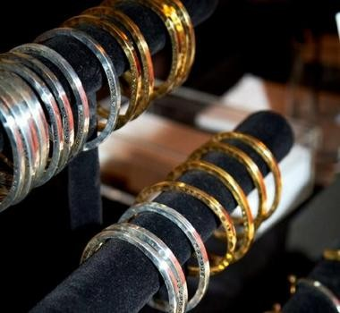 """Designs in the """"Caliber Collection,"""" a line of bangles and cuffs made from melted down guns."""