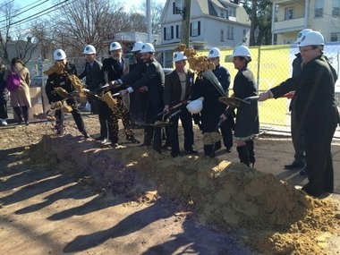 South Orange village trustees and officials from the developer, Jonathan Rose Companies, ceremonially break ground on the $64.4 million project on March 21.