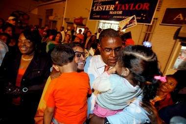 "Mayor Lester E. Taylor, III, shown shortly after winning last year's local Democratic primary. Taylor today announced a city-wide ""quality of life"" initiative to clean up the city - and also unveiled a proposed a tax increase double last year's hike."