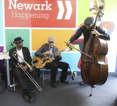 The Andrew Hall trio plays at The Greater Newark Convention & Visitors Bureau's new location in downtown Newark.