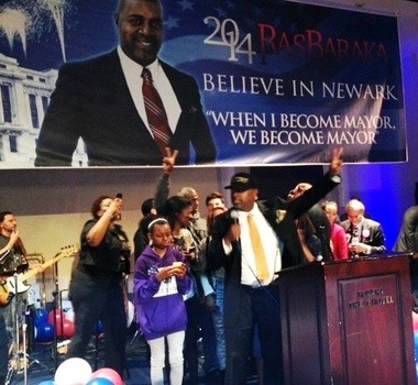 Ras Baraka on takes the stage at the Robert Treat Hotel moments after declaring victory in today's Newark mayoral election.
