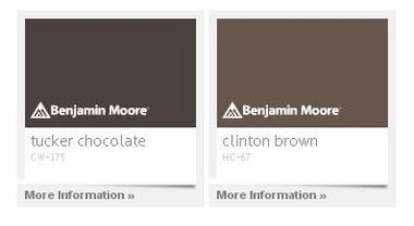 """On the Benjamin Moore website, """"Tucker Chocolate"""" color is explained this way: """"Capturing the 1798 color requested by St. George Tucker for his home facing Courthouse Green, this deep brown is classic and understated."""" """"Clinton Brown"""" is described as a candy: """"A childhood favorite treat matures into adult style chic in this perfectly balanced chocolate candy bar brown. Delicious with no added fat or calories."""""""