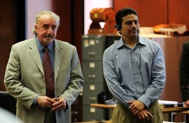 Defense attorney John Dell'Italia, left, and his client Jose Carranza stand while awaiting the jury to arrive for deliberations on Feb. 10, 2012. (John Munson/The Star-Ledger)