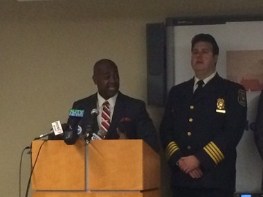 Mayor Ras Baraka and Police Anthony Campos at a press conference announcing the program this morning.