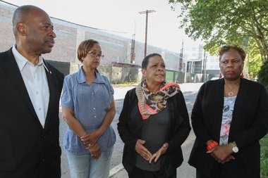 . From left to right; Resident's Steven Hawks, Janice Hawks, Lisa Parker, and Retha Rose-Arnold of University Estates homeowners association are unhappy with the stores that will be coming to the Springfield Avenue Marketplace, a mixed-use development in Newark.