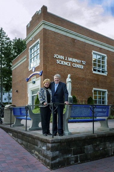 Pamela and John J. Murphy outside the newly dedicated Science Center