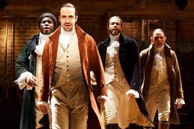 "Okieriete Onaodowan, Lin-Manuel Miranda, Daveed Diggs and Anthony Ramos in ""Hamilton."" (Photo by Joan Marcus)"