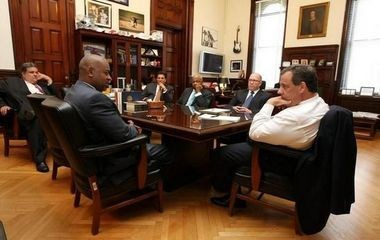 Gov. Christie and Mayor Baraka, shown in a 2014 file photo, appointed the group members.
