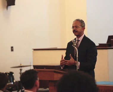 Peter Harvey, the federal monitor for the Newark Police Department consent decree, addresses city residents at St. John's Community Baptist Church on Monday, Nov. 28, 2016. (Thomas Moriarty | NJ Advance Media for NJ.com)