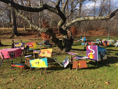 """An art installation created by students from Arts High School in Newark. The art work is a part of a public art project titled """"Cherry Blossoms in Winter'' at Branch Brook Park."""