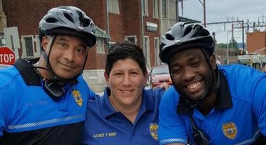 East Orange Police Chief Phyllis Bindi (center) with Sgt. Anthony Peters and Detective Antoine Buggs, members of the bike unit. (Photo: City of East Orange)