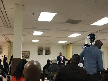 Mayor Ras Baraka met with the community at Clearview Baptist Church on Monday to talk about the return of local control of the schools. (Karen Yi | NJ Advance Media for NJ.com)