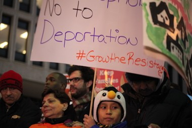 Immigrant rights organizers and city leaders gathered Wednesday to denounce President Trump's executive orders on immigration. (Karen Yi| NJ Advance Media for NJ.com)