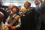 Brandon Niederauer, lead guitarist of the Brandon Niederauer Band, poses with Cissy Houston during the announcement that the Grammy Museum Experience is coming to the Prudential Center. 2/7/2017 New Jersey (Robert Sciarrino | NJ Advance Media for NJ.com)