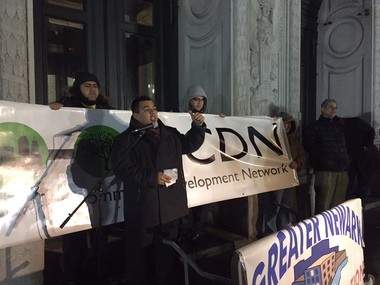 Housing advocates gathered outside Newark City Hall Wednesday to ask the City Council to stregthen the inclusionary zoning ordinance and reject changes to the rent control ordinance. (Karen Yi| NJ Advance Media for NJ.com)