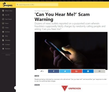"""A screen shot of the Snopes.com report on the """"Can you hear me?"""" scam."""
