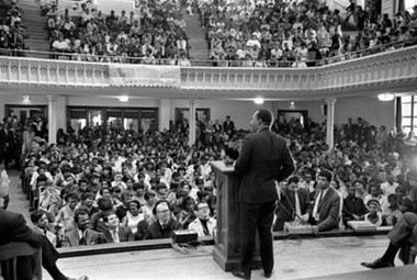 The Rev. Martin Luther King Jr. during a March 1968 visit to Newark, when he addressed economic inequality. The New Jersey Institute for Social Justice recalled King's visit when releasing a report on Tuesday. (Photo by Dave Booker)