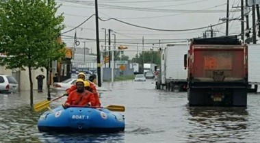 Newark firefighters rescued several people from flood waters in the city May 5, 2017 (Photo: Dept. of Public Safety)