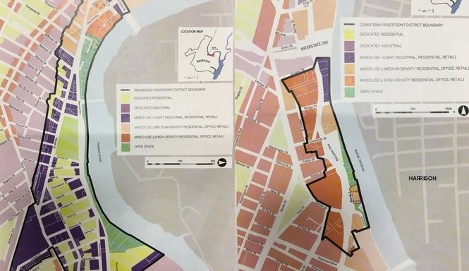 The proposed Ironbound zoning map (left) and the proposed downtown zoning map (right) that would be affected by the amendment to the Newark river public access and redevelopment plan. (Courtesy: City of Newark)