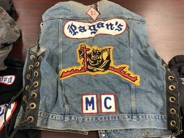 "A typical jacket worn by Pagan members. This year, Pagan members have started wearing an East Coast patch -- also known as a ""rocker"" -- to symbolize their dominance of the entire East Coast. (Alex Napoliello 