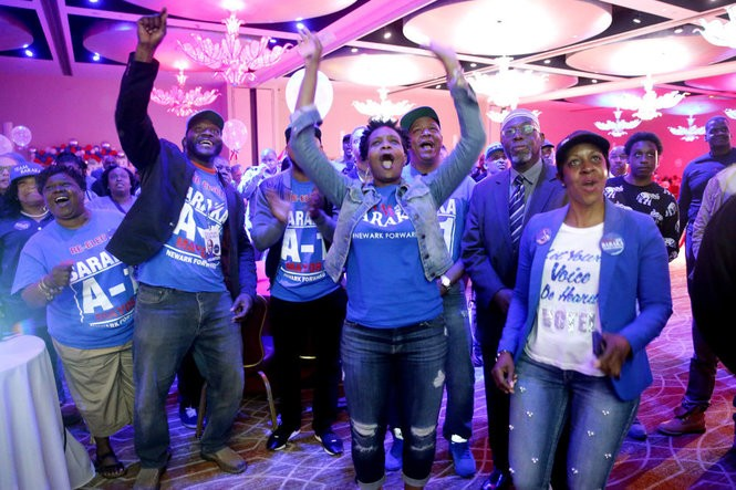 Surporters watch the results come in on election night. Newark Mayor Ras Baraka has his election night victory party with members of his City Council slate at the Robert Treat Hotel. Tuesday May 8, 2018. Newark, NJ, USA