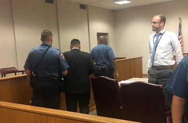Former Newark police Officer Joseph Macchia is led away after he's sentenced to 6 years in prison for shooting to death a Piscataway man. (Taylor Tiamoyo Harris | NJ Advance Media for NJ.com)
