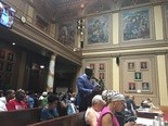 Newark's corporation counsel Kenyatta Stewart speaking at Wednesday's City Council meeting. Aug. 8, 2018.